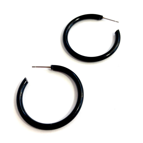 black thin earrings