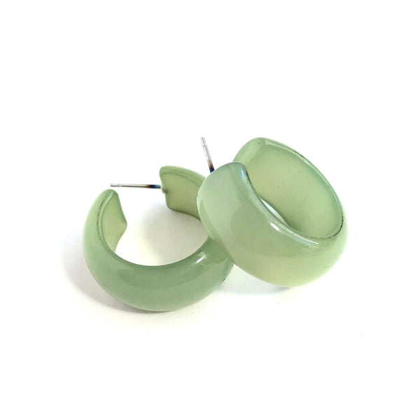 green moonglow lucite earrings
