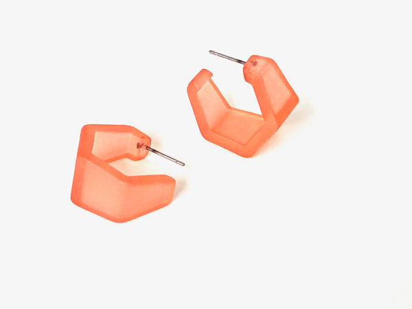 frosted coral hex earrings