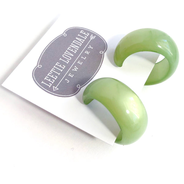 green moonglow hoop earrings
