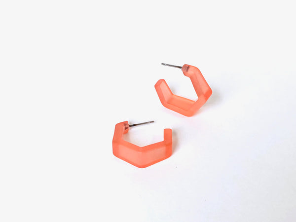 peach hex hoops small