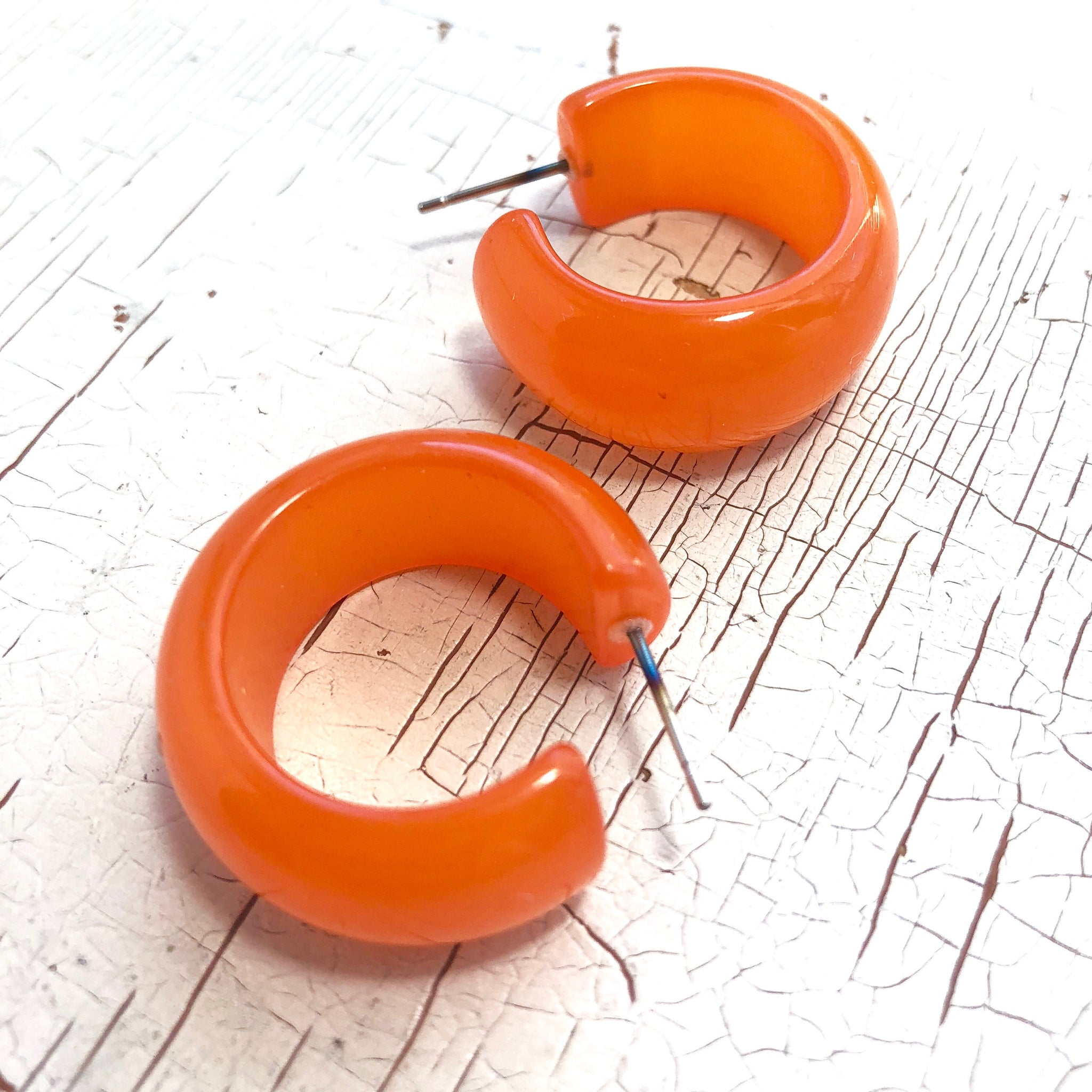 orange moonglow earrings