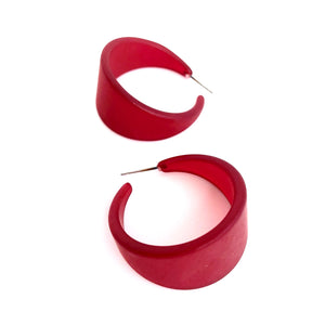cherry red hoop earrings
