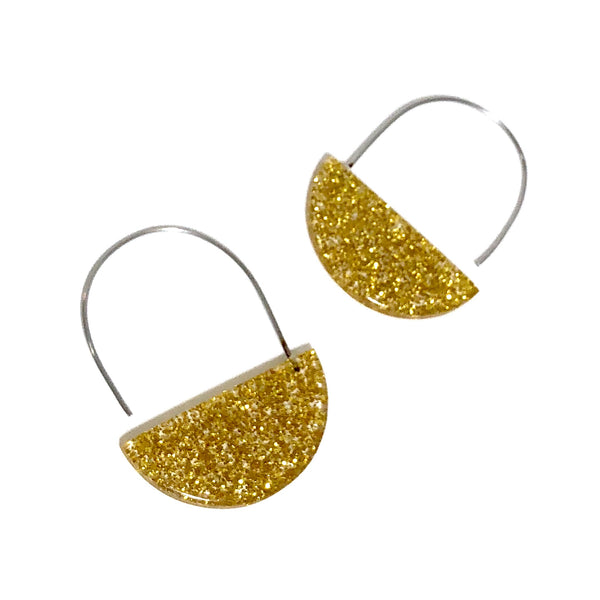gold glitter hoop earrings