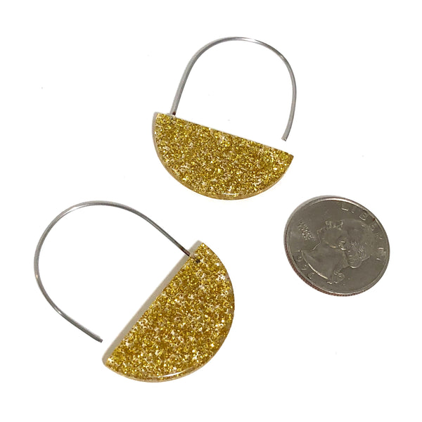 gold glitter half earrings