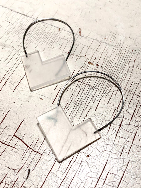 Frosted Clear Angled Geometric Modern Wire Drop Earrings