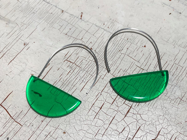 green crescent earrings