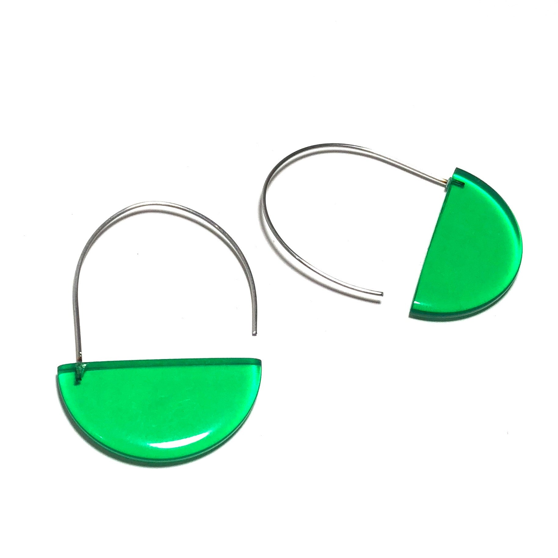 green lucite earrings