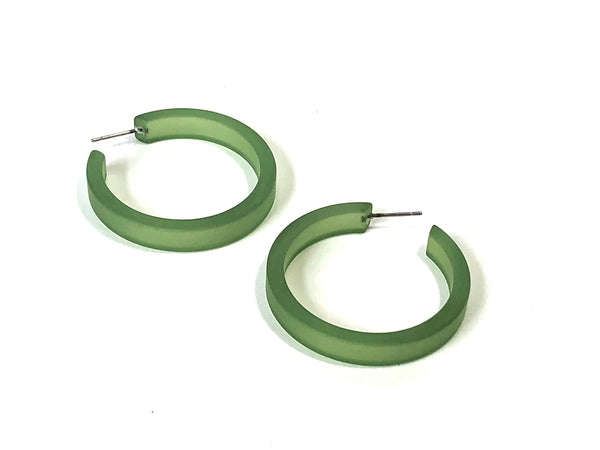 sea glass green classic hoops