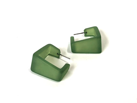 olive green cubist earrings