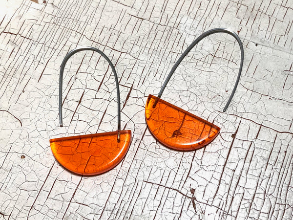 orange crescent earrings