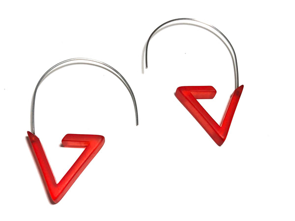 red triangle hoop earrings
