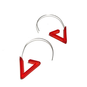 long red modern earrings
