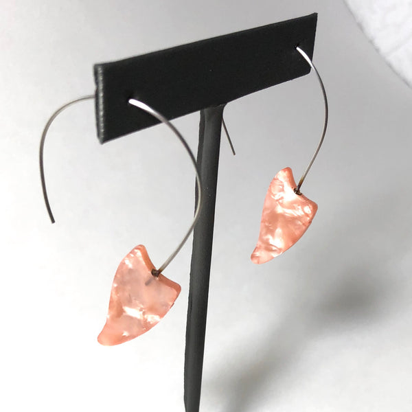 stainless steel pink earrings