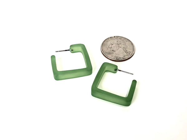 square hoop earrings green