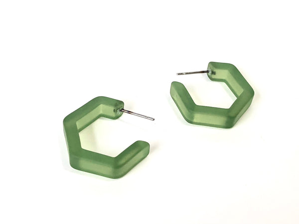 sea glass green hex hoops