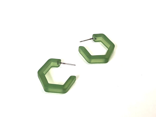 sea glass hex hoops