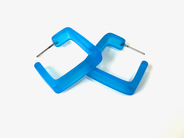 Aqua Blue Square Frosted Lucite Hoop Earrings