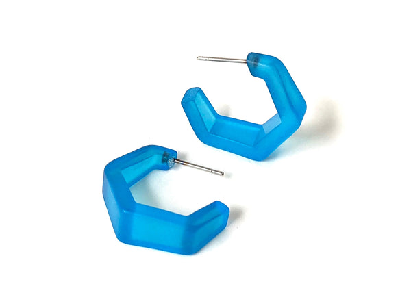 aqua blue hex hoop earrings