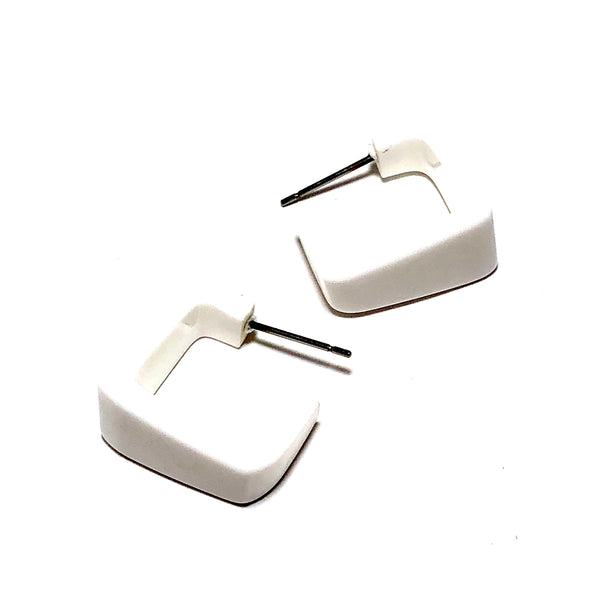 white square hoop earrings