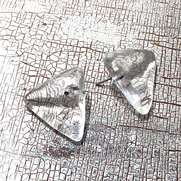 clear triangle lucite earrings