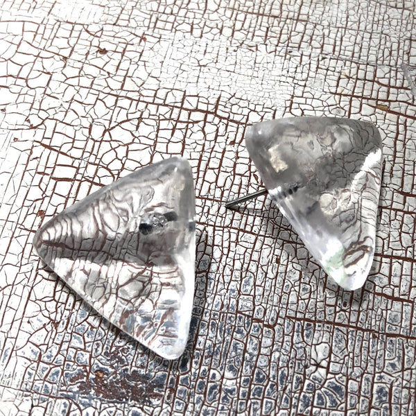 mottled clear triangle studs