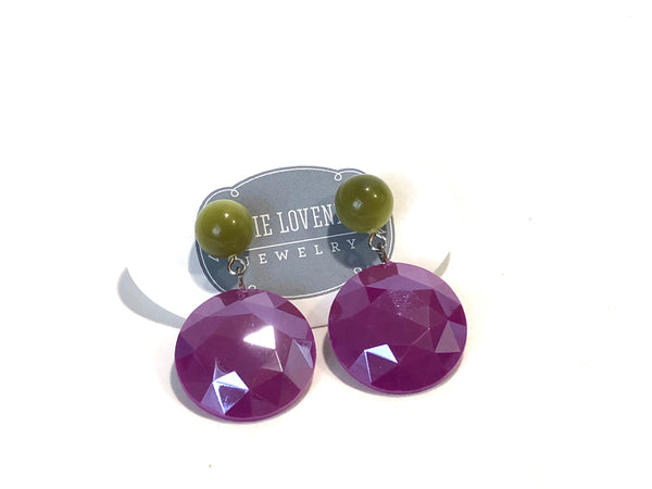 violet lucite earrings