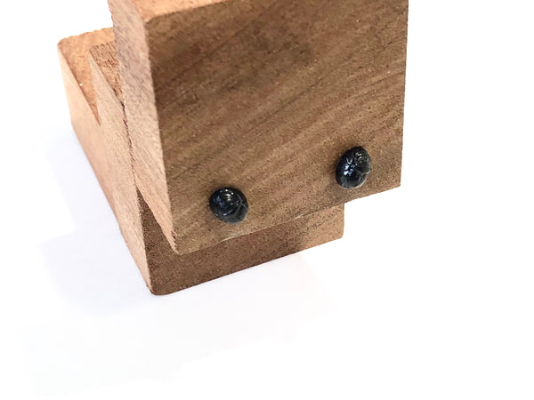 tiny black scarab studs
