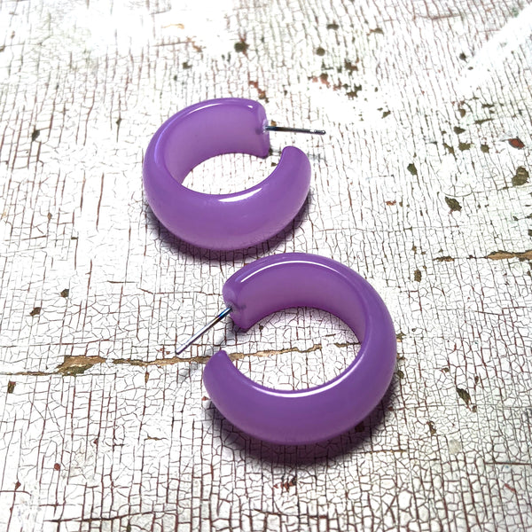 lilac lucite hoops