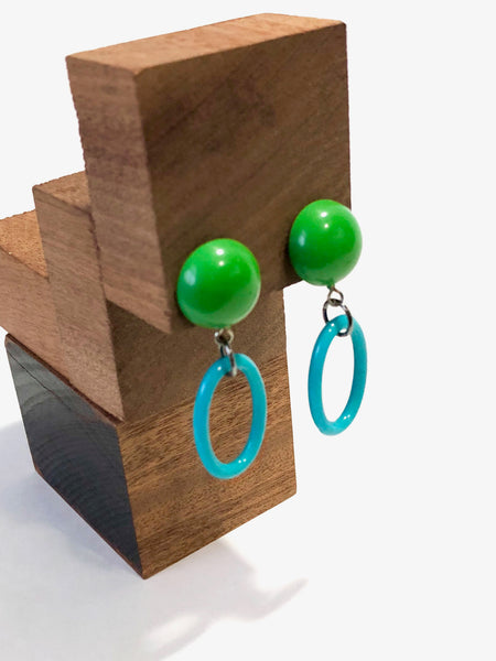 aqua statement earrings