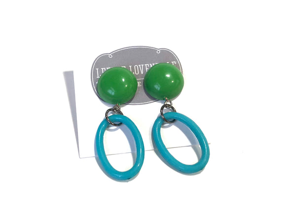 green aqua earrings