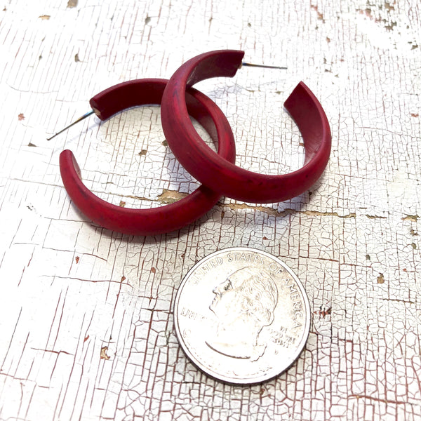 cherry red matte hoops