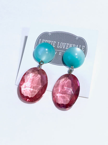 turquoise pink drop earrings