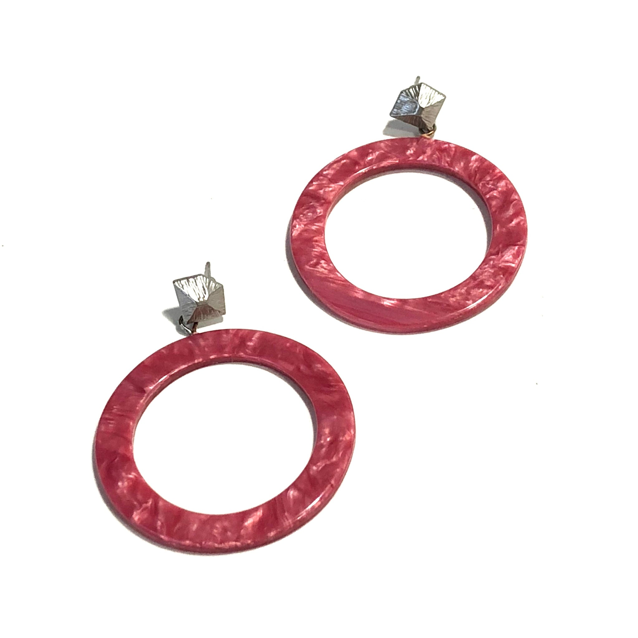 deep pink statement earrings