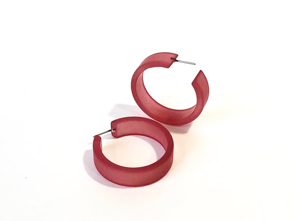 big mauve hoop earrings