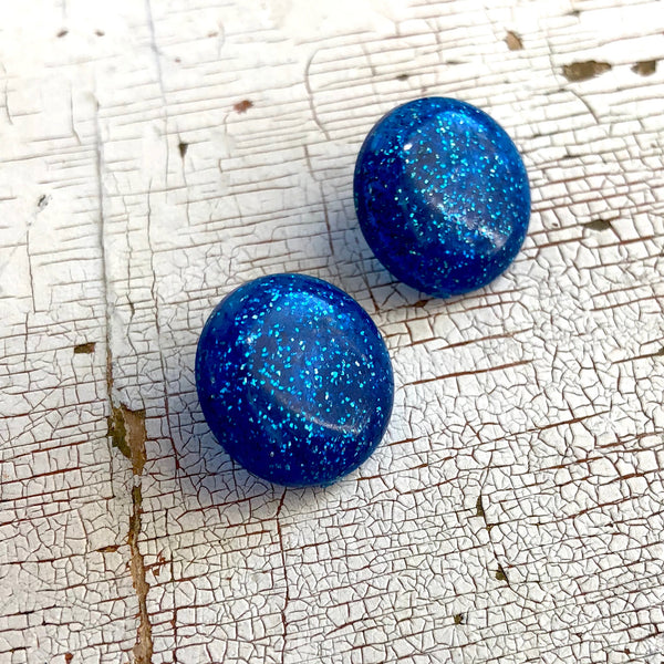 Blue Glitter Lucite Retro Button Stud Earrings