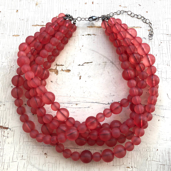 cranberry glass necklace lucite