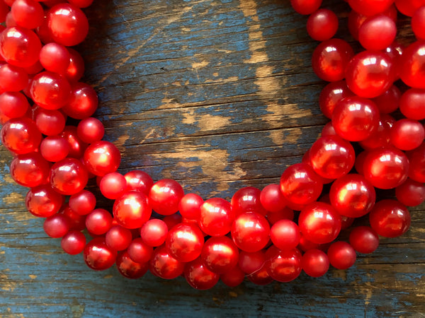 bright red beads