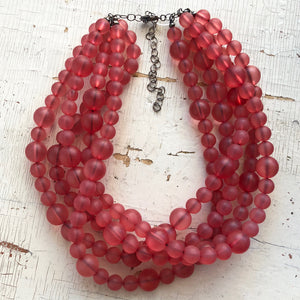 frosted cranberry vintage necklace