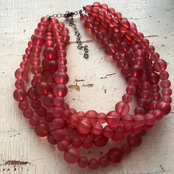 frosted cranberry necklace