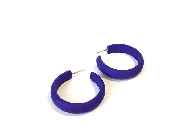 bright blue hoop earrings