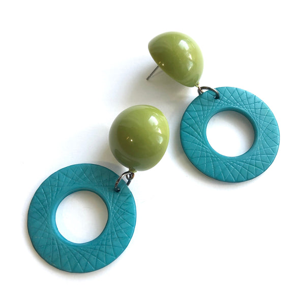 olive teal donut earrings