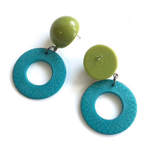 teal cosmic earrings