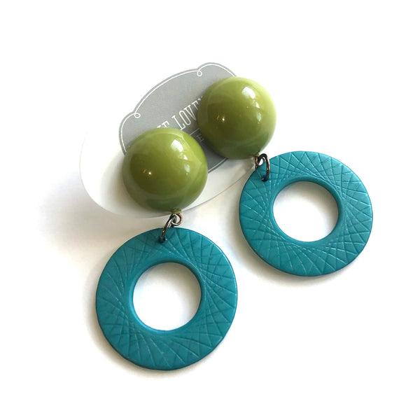 Olive & Teal Cosmic Donut Drop Earrings