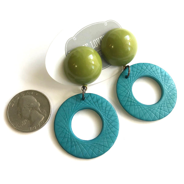 teal acrylic earrings