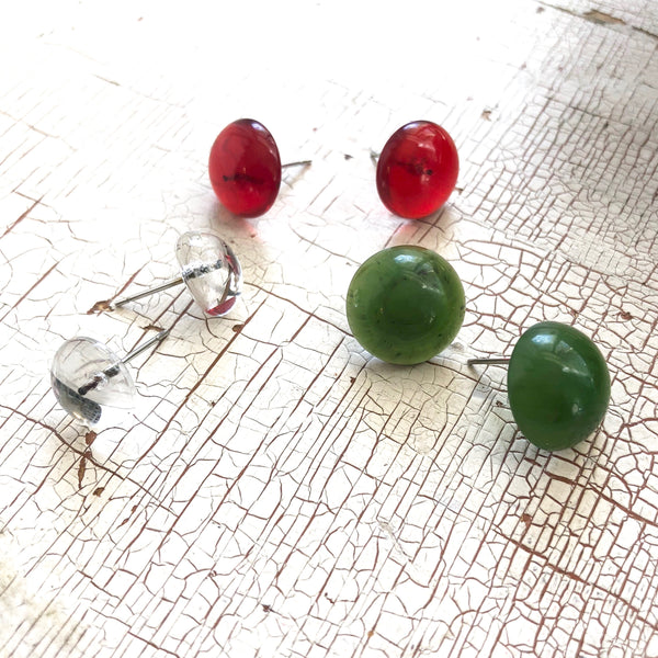 red clear green lucite studs