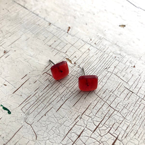 Ruby Red Transparent Flat Square Stud Earrings