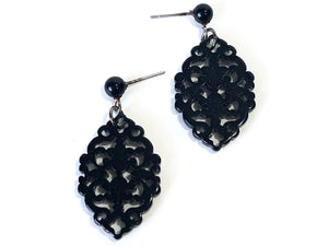 black boho diamante earrings
