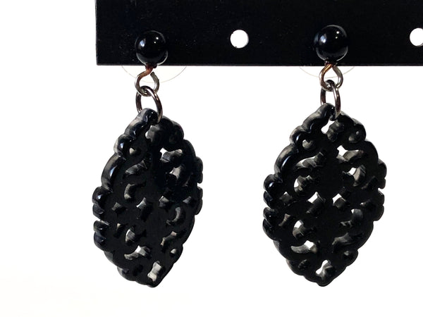 black boho earrings resin