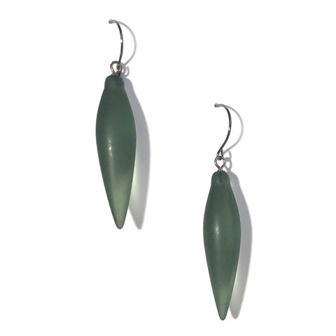 green plumb bob earrings
